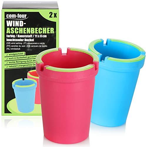 com-four® 2X posacenere per Esterni - posacenere a Vento - Tazze in Rete Anti-Tempesta con Coperchio Luminoso - posacenere per Auto, Ø 8 cm (2 Pezzi - Rosa Blu)