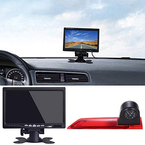 "7\"" Zoll LCD Monitor +1280x720pixel 1000TV Linien Rückfahrkamera integriert in 3. Bremslicht dritte Bremsleuchte Kamera for Ford Transit Custom 2012-2016 Transporter Business MPV SUV Bus"