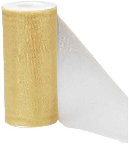 Darice 2913-24 6-Inch-by-25-Yard Sparkle Tulle, Gold