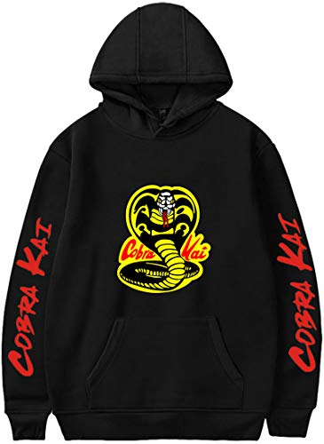 Chaos World Herren Cobra Kai Aufdruck Hoodie Karate Kid Langarm Sweatshirt Lässig Oben(Schwarz,S)