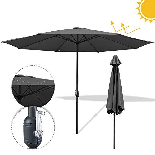 Hengda Ø 300cm Sonnenschirm Gartenschirm UV30+ Wasserabweisenden Sonnenschutz Rund Ampelschirm Farbwahl mit Handkurbel Marktschirm für Balkon, Terrasse & Garten