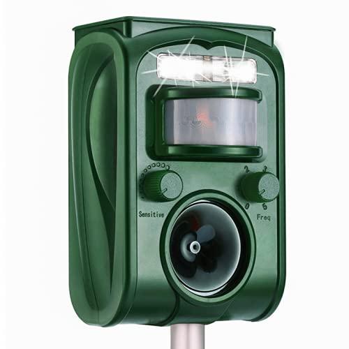 2021 Solar Ultrasonic in Repellent Defender Rat, Squirrel, Deer, Raccoon, Skunk, Rabbit, Mole, Dog, Cat, Waterproof with Motion Detector (Green)