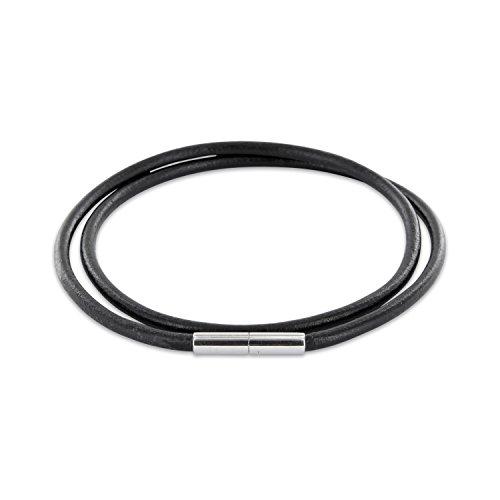 AURORIS Echtleder Kette schwarz Dicke 3mm mit Tunnel-Drehverschluss aus Edelstahl/Länge: 40cm
