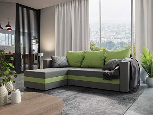 Nowak MebLiebe Ecksofa Savio Couch Ecksofa mit Schlaffunktion 235x152x85 cm Bett 3-Sitzer Sofa (Grau-Grün)