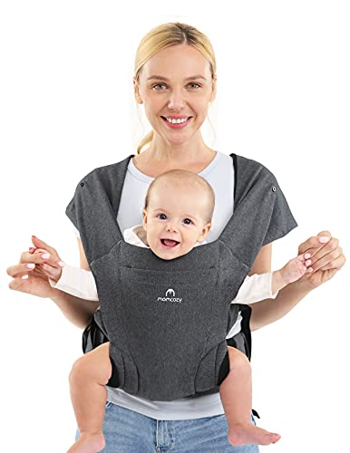 Momcozy Baby Carrier, Adjustable Baby Carrier Ergonomic Front Facing/Back Carrier for Newborn Up to 40 lbs, Soft Carrier for Breastfeeding, One Size Fits All, Dark Grey