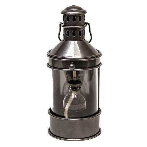 L'Héritier Du Temps Grande Lampe à Pétrole Lanterne à Poser ou à Suspendre Style Ancien en Fer Couleur Gris Patiné Globe en Verre 17,5x20x38,5cm