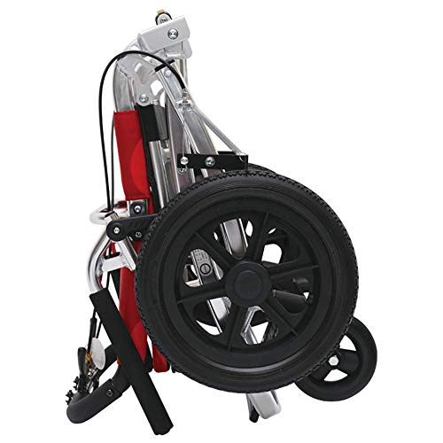 WANGXN Kleiner Folding Antrieb Rollstuhl Leichte Mobilität Gerät Folding Roller Geeignet für Senioren und Behinderte,Rot
