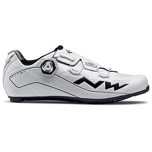 Northwave Flash 2 Carbono Zapato de Bicicleta de Carretera Blanco-Negro, Tamaño:gr. 46