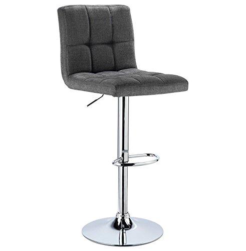 WOLTU® 1 x Barhocker Barstuhl Tresenhocker Stuhl drehbar und höhenverstellbar Tresen Hocker Leinen Dunkelgrau BH32dgr-1