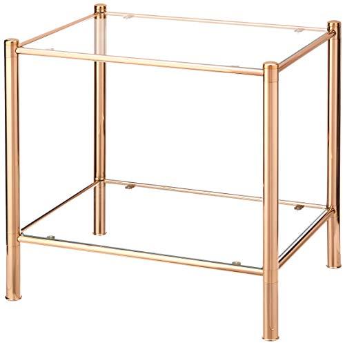 Haku Möbel Mesa de centro - Mesa redonda de vidrio con aspecto dorado, altura 54 cm. ⭐