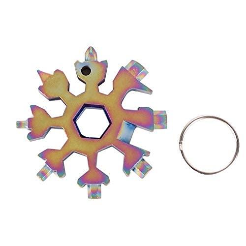 18 en 1 multiherramienta de acero inoxidable con forma de nieve, destornillador de cruz plana, llave Allen, herramienta portátil para llavero (color: colorido)