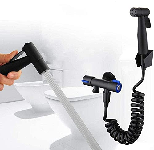 ZCX Aseo multifuncional FLUSHER FLUSER LIMPIADOR Pulverizador Negro Limpieza de inodoro Pistola de pulverización Grifo Acero inoxidable Presurizado Flushing Faucet Baño Práctico Grifos de ducha