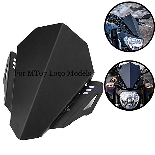 Easygo Motorcycle CNC Aluminum Windshield Windscreen Deflector Motorbike Wind Protection for for YAMAHA MT-07 2018 2019 MT07 FZ07 FZ-07 FZ 07 (for mt07 logo)