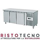 Tavolo frigo Refrigerato 3 sportelli porte, 420 Lt. Acciaio inox. -2°/+8°C. – Cm. 179,5x70x85H.