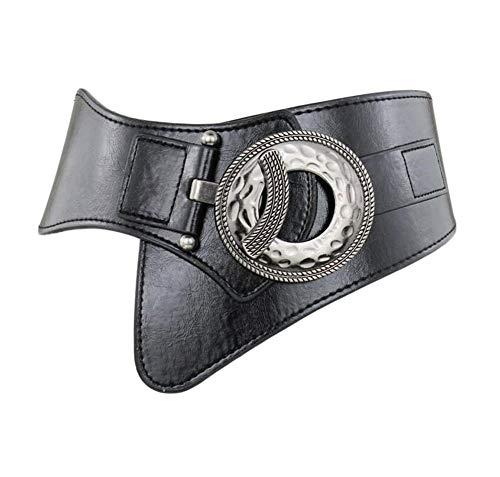 Diyafas Cinturón Ancho Elástico para Mujer Pretina Elástica Cinturones Vestido Decorativos (Negro)