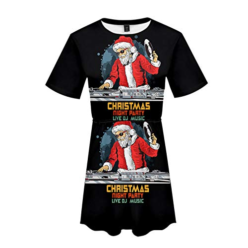 Soluo Women's Ugly Christmas Dress Casual 3/4 Sleeve Xmas Gift Swing Party Dress (Multicolor 5,XX-Large)
