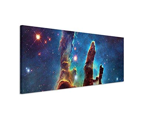 Paul Sinus Art Panorama Fotoleinwand 120x40cm Künstlerische Fotografie – Leuchtende Galaxie auf Leinwand Exklusives Wandbild Moderne Fotografie für ihre Wand in vielen Größen