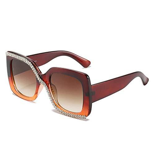 ZZOW Gafas De Sol Cuadradas De Gran Tamaño con Diamantes De Lujo A La Moda para Mujer, Gafas Graduadas con Diamantes De Imitación Vintage para Hombre, Gafas De Sol Uv400