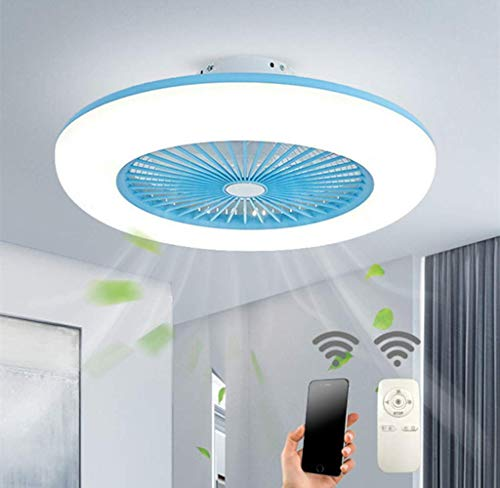 WANGIRL Techo con Techo Creativo Ligero Invisible con Control Remoto Regulable Ultra silencioso Luz de Techo LED [Energy Class A ++], Azul LOLDF1