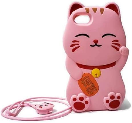 AdorbsMe Fortune Cat Phone Case for iPhone SE 2020 - Cute Silicone 3D Cartoon Animal Shockproof Cover with Silicone Lanyard (Pink)
