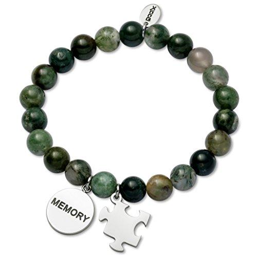 gooix Pulsera para mujer de acero inoxidable plateado verde 414-05948, 19 cm