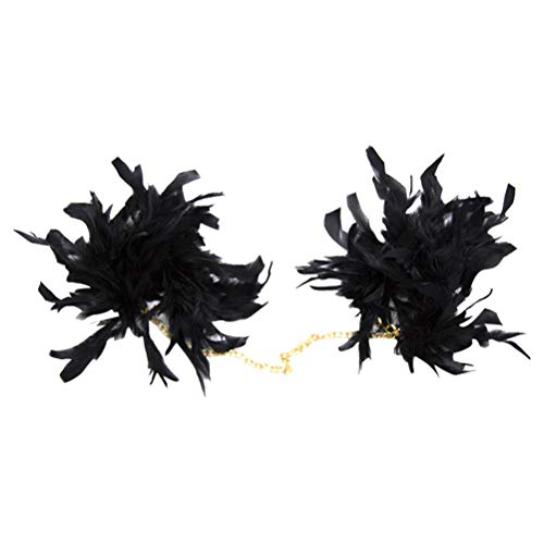BESTOYARD Black Feather Handcuffs Fancy Costume Handschellen für Party Rollenspiele Sex Flirting (Black)