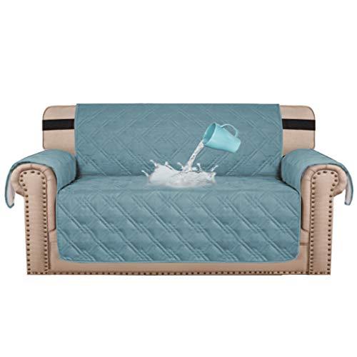 BellaHills 100% wasserdicht Zweisitzer Bezug für Haustiere Premium Quilted Furniture Protector Sofa Schonbezug für Love Seat Couch-Bezüge rutschfeste Bezüge für Wohnzimmer (2-Sitzer: Smoke Blue)
