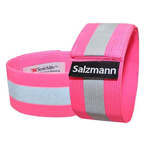 Salzmann 3M Reflektierende Armbinde | Elastisches Armband/Beinband | Hergestellt mit 3M Scotchlite (2 Stück) - Pink