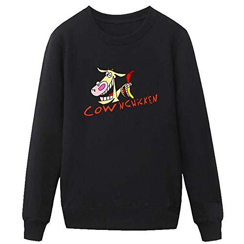 Wasdjkge Cow and Chicken Pullover Cuello Redondo Ocio Cómodo Jersey Impreso Suéter Moda Clásica Sudadera Unisex