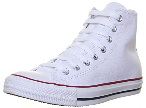Converse Chucks Taylor All Star Hi Leder, Unisex - Erwachsene Sneaker, Weiß (Optical White), 42.5 EU