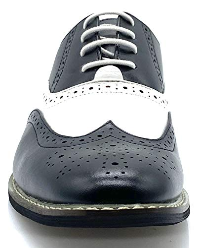 Wood8 Men's Two Tone Wingtips Oxfords Perforated Lace up Dress Shoes (11)