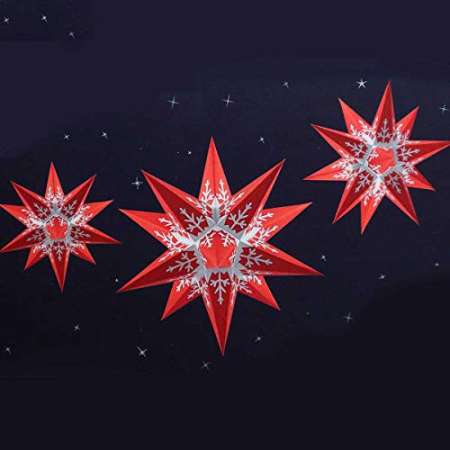 Marienberger Sterne Knebel Marienberger Adventssterne 3-Set Schneeflocke rot/weiß