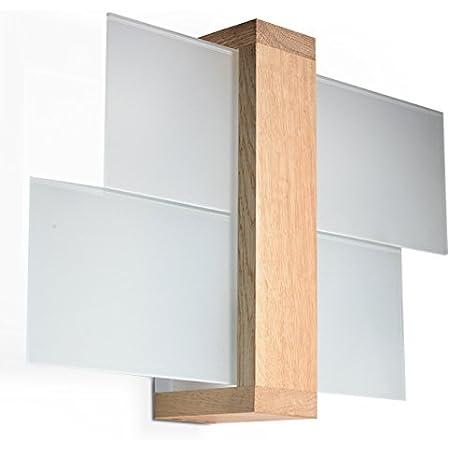 NOUVEAUTÉ ! Applique bois naturel pour salon et antichambre – verre et bois - SOLLUX FENIKS 1 SL.0077 lampe murale carrée moderne 1 point LED E-27 *** LUMINAIRES : Meilleurs prix sur Amazon !