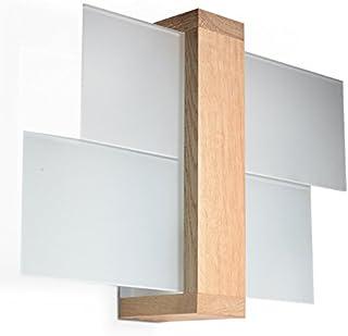 NOUVEAUTÉ ! Applique bois naturel pour salon et antichambre – verre et bois - SOLLUX FENIKS 1 SL.0077 lampe murale carrée ...