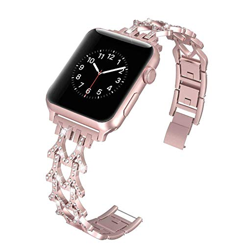 Fhony Replacement Band Compatible with Apple Watch Band 38mm 40mm 42mm 44mm Bling Bracelet Stainless Steel Dressy Jewelry Diamond Bracelet Iwatch SE Series 6/5/4/3/2/1,Pink,38/40mm
