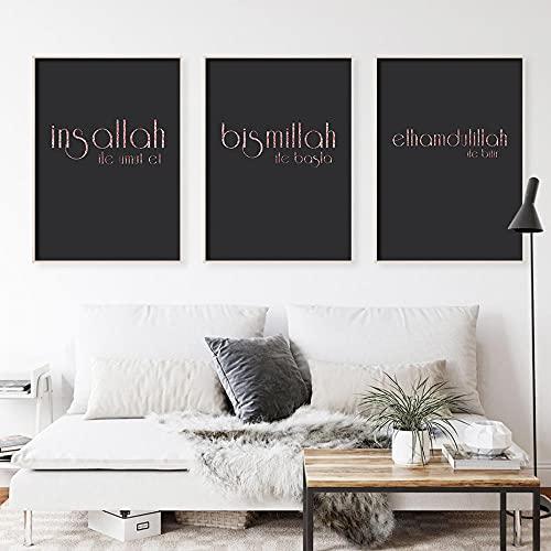 ZYQYQ Cuadros Decoración Salon lienzo Mural negro rosa dorado islámico impresiones comienzan...