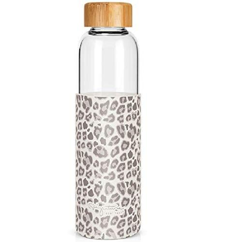 Label Tour - Botella de cristal de 550 ml, tapón de bambú, torre de silicona con decoración de leopardo (LTGLASS47) – 24 cm de diámetro 6,8 cm