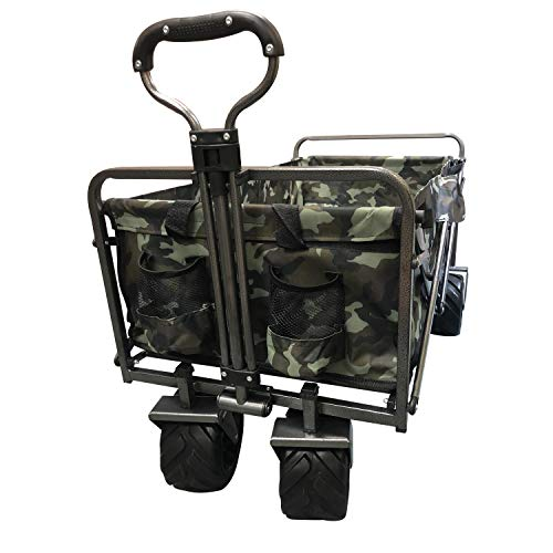 耐荷重150kg 折りたたみ式多用途キャリーカート アウトドア キャンプ レジャー (カモフラ柄)