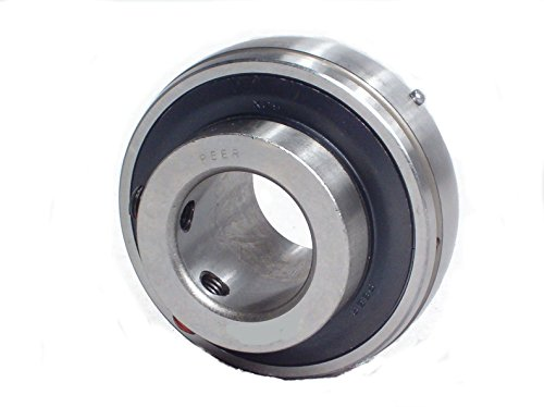 "Peer Bearing UC206-20 UC200 Series Insert Bearing, Relubricable, Set Screw Locking Collar, Single Lip Seal, 1-1/4"" Bore, 18 mm Wide Inner Ring, 38.1 mm Spherical Outer Ring, 62 mm Outer Diameter"
