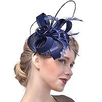 ZEVONDAヘアクリップ - カクテルティーパーティーヘッドウェアフェザーメッシュ魅惑的な帽子