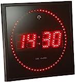 Lunartec Digitale Wanduhr LED: LED-Funk-Wanduhr mit Sekunden-Lauflicht durch rote LEDs (Digitale Funk Wanduhr LED)