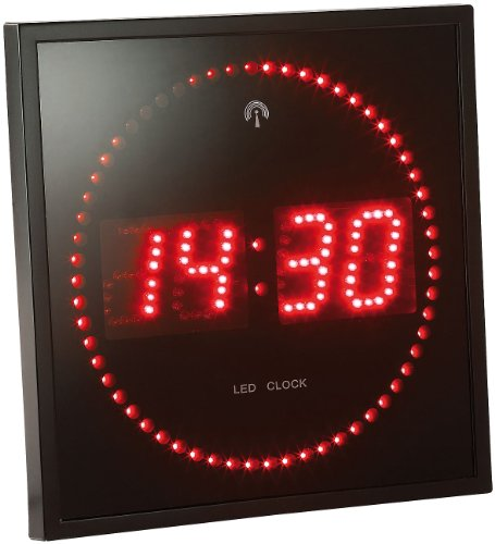 Lunartec Digitale Wanduhr LED: LED-Funk-Wanduhr mit Sekunden-Lauflicht durch rote LEDs (Elektronische Wanduhr)