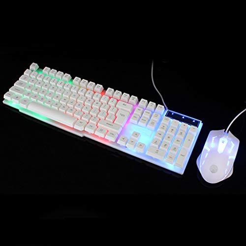 Profesión Teclado Ratón Iluminado y Juego de Teclado, Interfaz de Teclado táctil retroiluminación táctil USB Ergonomía (Color : White)