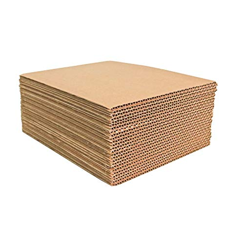 Corrugated Cardboard Filler Insert Sheet Pads 1/8' Thick - 8.5 x 11 Inches for packing, mailing, and crafts - 25 Pack