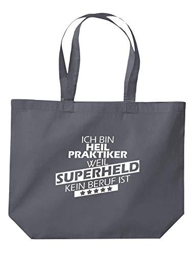 Shirtinstyle Beutel Tasche, Ich Bin Heilpraktiker Weil Superheld kein Beruf ist, Beruf Ausbildung Abschluss, Jute, Shopper, Beutel, Tasche, Farbe Dunkelgrau