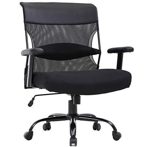 Big and Tall Office Chair 500lbs Wide Seat Desk Chair Ergonomic Computer Chair Task Rolling Swivel Chair with Lumbar Support Armrest Adjustable Mesh Chair for Adults Women, Black