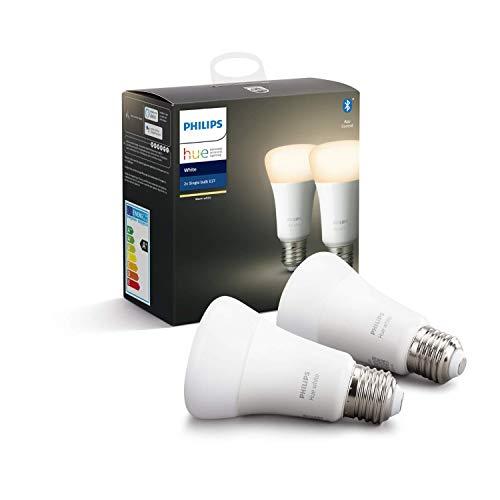 """Philips Hue White E27 LED Lampe Doppelpack, dimmbar, warmweißes Licht, steuerbar via App, kompatibel mit Amazon Alexa (Echo, Echo Dot), Gerät """"Zertifiziert für Menschen"""""""