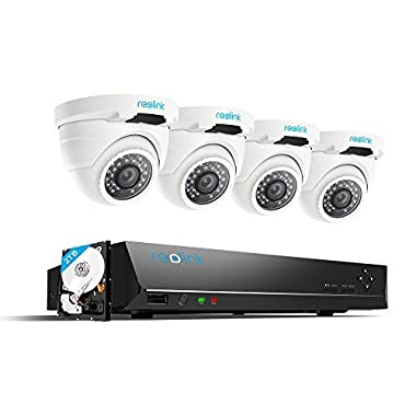 Reolink PoE Security Camera System 8CH 5MP NVR 2TB Hard Drive with 4 Outdoor 4 Megapixels PoE Surveillance IP Camera 1440P 100ft Night Vision Home Business RLK8-420D4