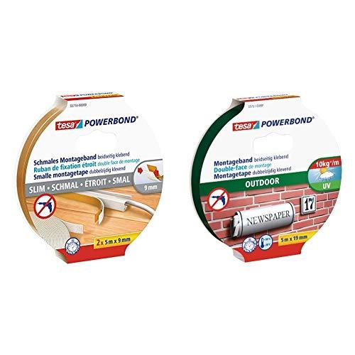 tesa doppelseitiges Montageband Powerbond SCHMAL, 2x 5m x 9mm & Powerbond Outdoor (Doppelseitiges Montageband für den Außenbereich, Wasserfestes, starkes, UV,beständiges Klebeband, 5 m x 19 mm)