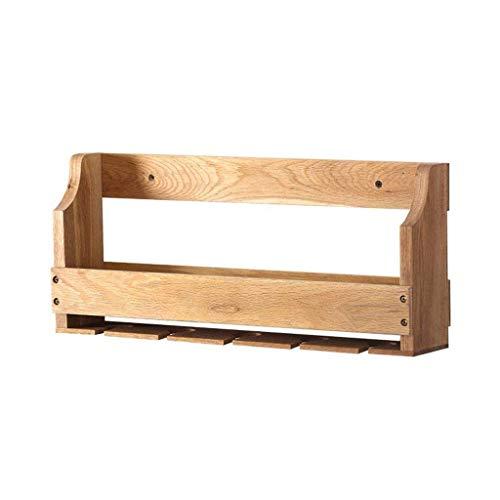 Estante de metal para colgar en la pared, para colgar copas de vino de madera maciza y estante para cocina/bar/restaurante (tamaño: pequeño)
